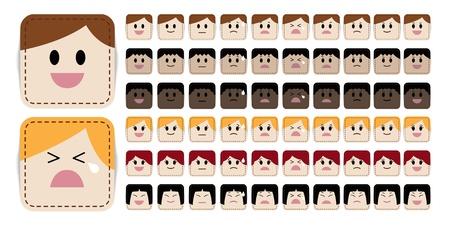 wenen: Groot aantal eenvoudige en leuke cartoon gezicht in verschillende uitdrukkingen en rassen