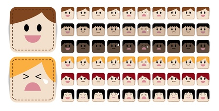big smile: Variety of simple and cute cartoon face in different expressions and races