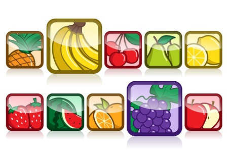 Collection of cartoon fruits icon in trendy style Illustration
