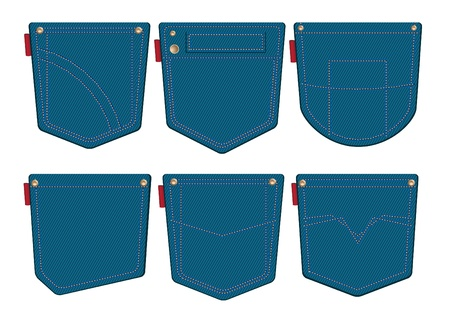 back pocket: Set of jeans pocket design Illustration