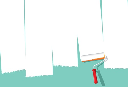 Image of paint roller painting over wall to make space for copy Stock Vector - 11135508