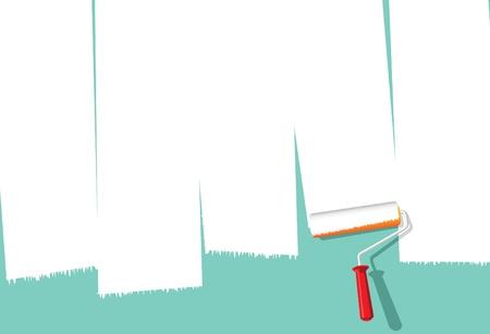roller: Imagen de la pintura rodillo sobre la pared para hacer espacio para la copia Vectores