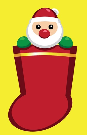 Image of Santa Claus in a christmas sock