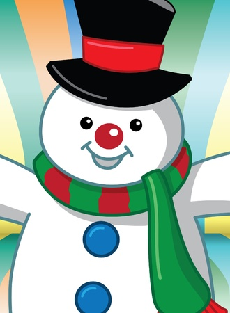 Image of cartoon snowman with colorful background Vector