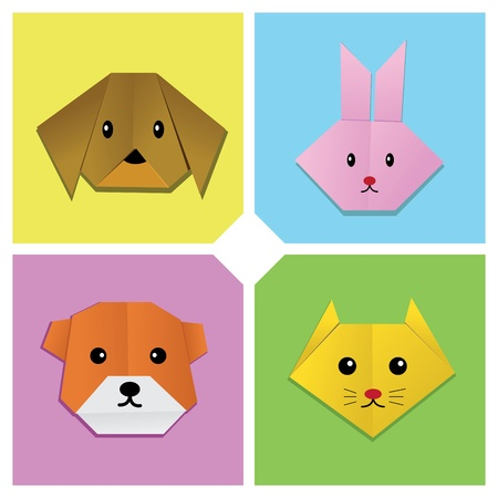 Image of sets of animal heads origami