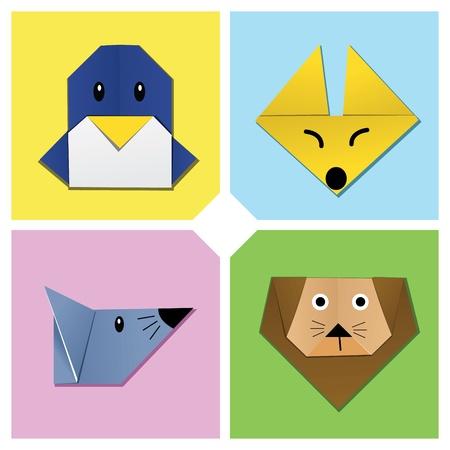 Image of sets of animal heads origami Illustration
