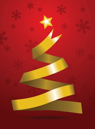 Image of gold ribbon making a christmas tree shape on background with snowflake Vector