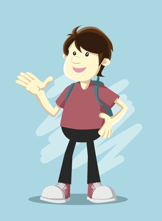 Image of boy with a backpack showing something