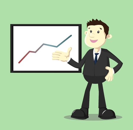 growing up: Image of businessman in suit showing growing up performance graphic
