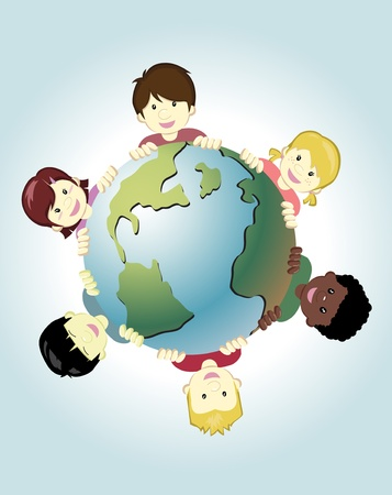cartoon world: Image of children around the world holding the earth as symbol of peace Illustration