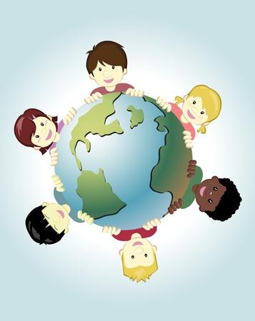 mundo manos: Imagen de los niños de todo el mundo la celebración de la tierra como símbolo de la paz