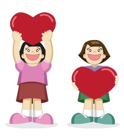 Image of lovely girl holding a heart with empty space on it Stock Vector - 12488194