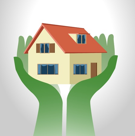 small house: Image of symbolic hand holding up a house Illustration