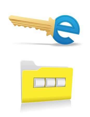 Image of two symbols of computer and electronic security Vector