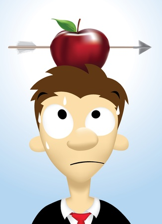 aim: Image of person who take high risks with apple put on his head and shot by an arrow Illustration