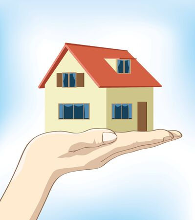 Image of a hand holding up a house on nice clear blue background. Illustration