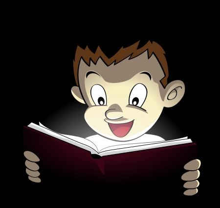 Image of a boy open a shining book and amazed by its bright content Vector