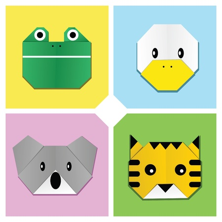 Image of sets of animal heads origami Illustration