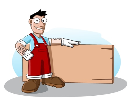 Cute cartoon character of profession (carpenter) holding an empty wood board. See my portfolio for other cartoon profession