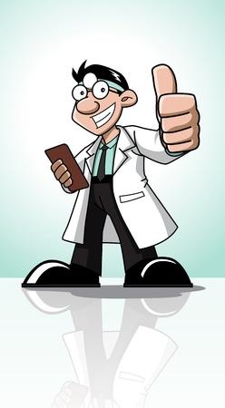 hospital cartoon: Carino personaggio dei cartoni animati della professione (medico) in possesso di un biglietto e che mostra un pollice in su
