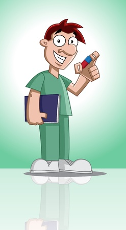 Cute cartoon character of profession (doctor) holding documents and showing a medicine