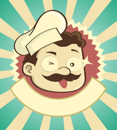 Stylish vintage badge of a chef with empty band under. Check my portfolio for other profession image Illustration
