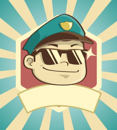 Stylish vintage badge of a police with empty band under. Check my portfolio for other profession image Illustration