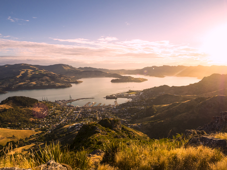 View over Lyttelton Harbor sunset near Christchurch Canterbury New Zealand