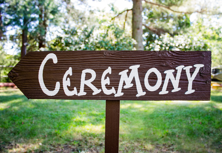 ordinary handmade ceremony sign for a wedding day with a shallow depth of field Reklamní fotografie