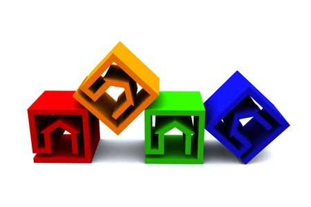 four real estate cubes in different colors photo
