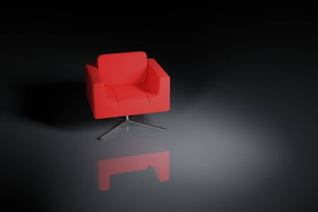 A red armchair on a black background Stock Photo - 7497894