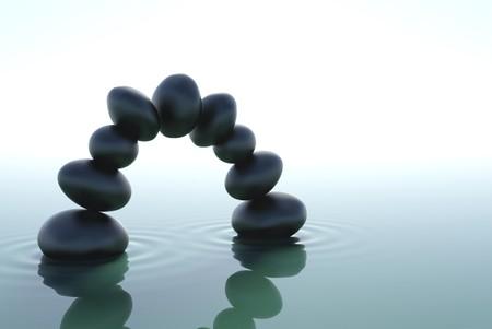 arcos de piedra: Un arco de piedra en un agua de zen  Foto de archivo