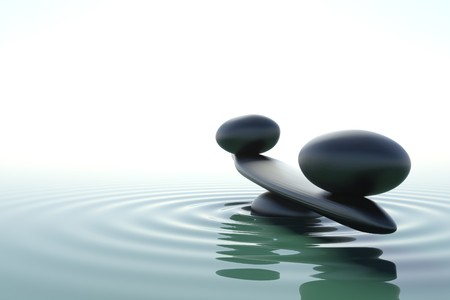 'peace of mind': A balance stone in a zen water