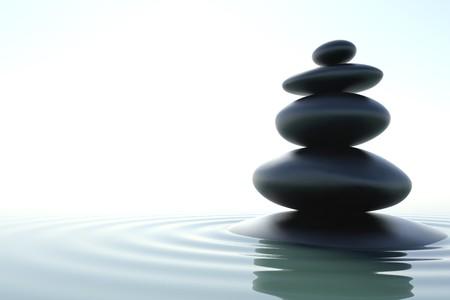 piedras zen: Un rascacielos de zen en un agua de zen