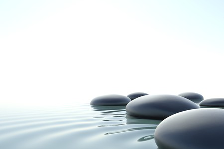 'peace of mind': Zen stones in a zen water