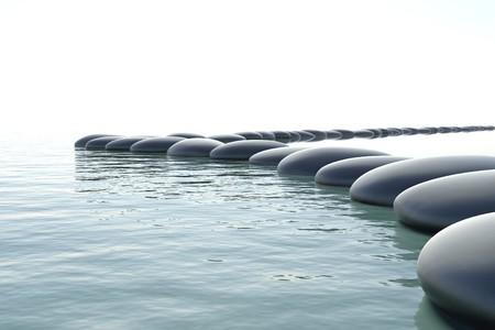 Zen stones in a zen turbulent water
