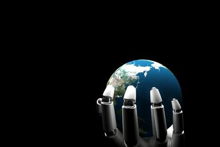 mano robotica: Cyborg mano sosteniendo la tierra sobre un fondo negro  Foto de archivo