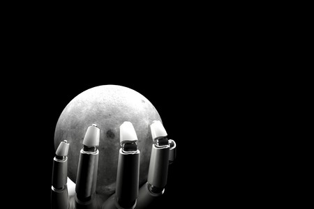 Cyborg hand holding the moon on a black background  Stock Photo - 8158881
