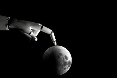 Cyborg hand playing with moon on a black background