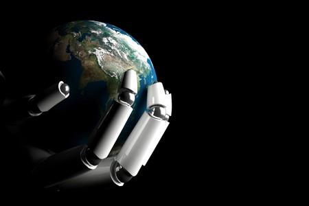 mano robotica: Mano de cyborg, protecci�n de la tierra sobre un fondo negro