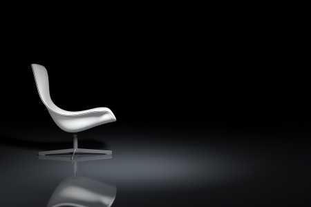White design armchair on black background