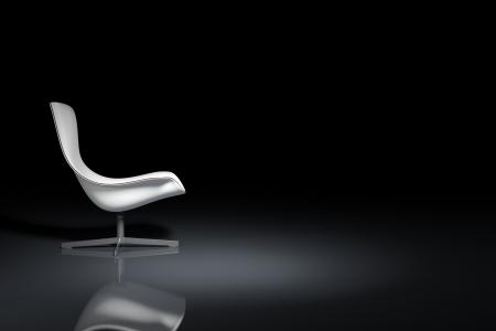 spotlight white background: White design armchair on black background
