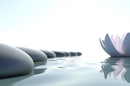 steine im wasser: Zen Blume Loto in der N�he von Steinen auf wei�em Hintergrund Lizenzfreie Bilder