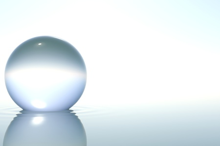 Zen glass sphere in zen water on white background 스톡 콘텐츠
