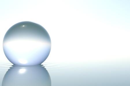Zen-Glaskugel in Zen Wasser auf weißem Hintergrund Standard-Bild - 8299230