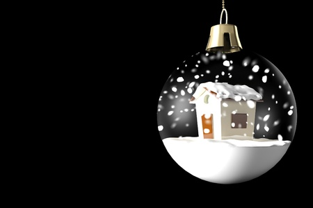 Glass ball Christmas with a little house and snow on a black background