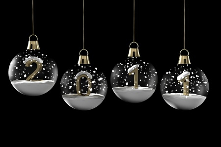 Glass ball Christmas with new year and snow on a black background Stock Photo - 8432535