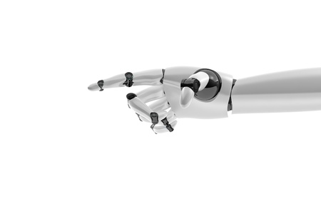 Robotic hand shows something on white background 스톡 콘텐츠