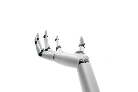 Robotic hand take something on white background Banco de Imagens