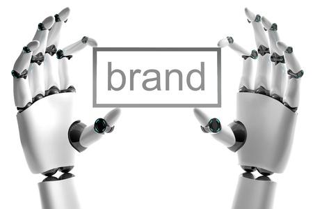 mano robotica: Mano rob�tica con marca colocar sobre fondo blanco Foto de archivo